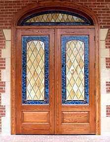 custom doors, stained glass, art glass, wood doors, church doors ...